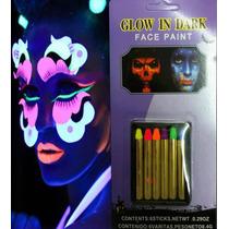 6 Crayones Pintura Fluorescente Neon Maquillaje Disfraz