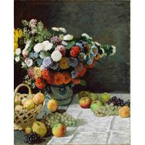 Lienzo Tela Claude Monet Flores Y Frutas 62 X 50 Cm Francia