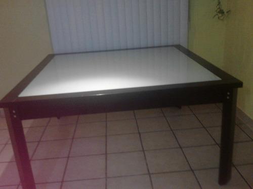 Comedor solo mesa madera y cubierta de cristal templado for Mesa cristal liverpool
