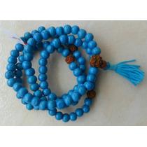 * Mala-rosario Budista * Madera Y Semilla De Rudraksha