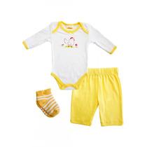 Conjunto 3 Piezas Baby Creysi Gallinita Amarillo 6 Meses