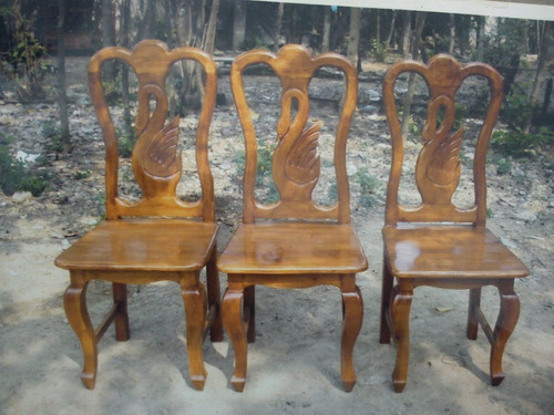 Sillas para comedores labradas madera de cedro 499 vizzk for Sillas de madera precios