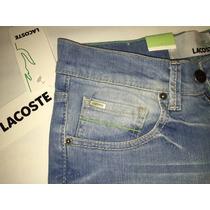 Jeans Lacoste Hombre Placa Metálica
