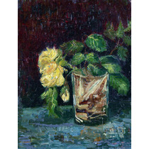 Lienzo Tela Cristal Y Rosas Amarillas Vincent Van Gogh 50x60