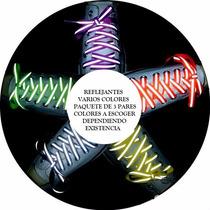 (3 Pares) Agujeta Cordones Reflejantes Tenis Varios Colores