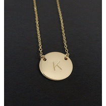 Fino Collar Letra Inicial Plata Baño Oro 24 Kt Personalizado