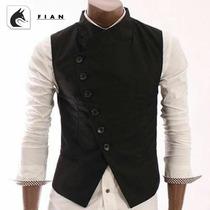 Chaleco De Moda Para Hombre Corte Cruzado