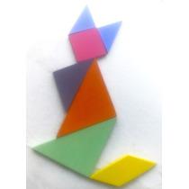 Tangram Madera 7 Piesas Material Didáctico Con Caja Madera
