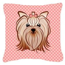 De Color Rosa A Cuadros Yorkie / Yorkshire Terrier Tela De L