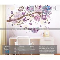 Vinilo Decorativo Rama-i04 Árbol, Pájaro Y Flores.
