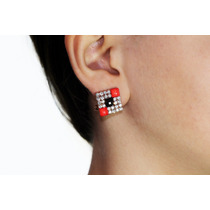 Arete Moda Dorado Cuadro Cristales Piedras Rojas Ar442