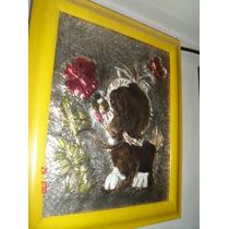 Cuadro En Repujado Perro Con Flor Muy Lindo Hw9