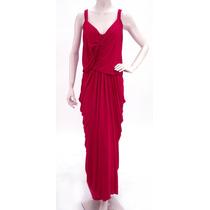 Vestido De Noche, Rojo, Drapeado En Espalda Donna Karan