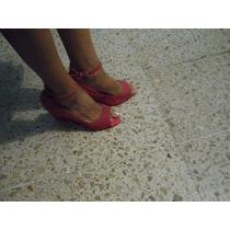 Zapatillas Abiertas Con Plataforma Color Rosa La Mode 24