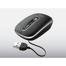 Mouse Optico Con Cable Retractil Oculto Negro Usb Pc-043669-