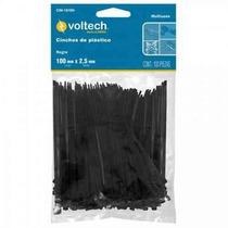 100 Cinchos De Plastico Negros De 20cm 18lb Voltech 44322