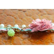 Pulsera Casual Dorada Listón Verde Flor Rosa Pc82