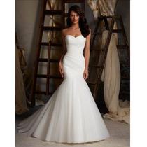 Vestido De Novia Sirena Color Blanco Strapless Hermoso
