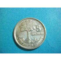 Guatemala 5 Centavos Fecha 1956 Plata Ley 0.720