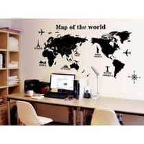 Mapa Mundial Vinilo Decorativo Poster Mapamundi Viajeros