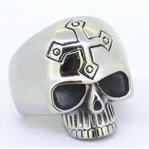 Anillo De Calavera Coin Cruz En Acero Inoxidable Biker/rock