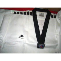 Dobok Pine Tree Cuello Negro Imp. Tela Flor Taekwondo Rm4