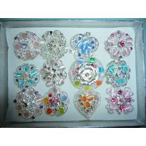 12 Anillos De Moda Fantasia Fina Con Cristales De Flores