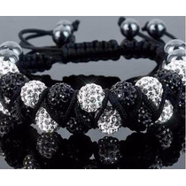 Pulsera Shamballa Con Cristales Tipo Swarovsk Doble Negro
