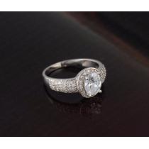 Anillo Diamantes Zirconias Chapa De Platino Regalo Elegante