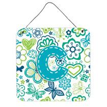Letra C Flores Y Mariposas Azul Del Trullo Pared O Puerta Co