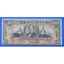 Billete $10 Banco De Nuevo Leon 1912 Excelente
