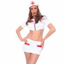 Disfraz Sexy Para Dama Enfermera, Falda Top Cofia Sensual