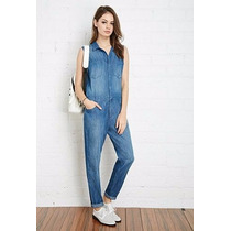 Forever 21 Jumpsuit Overol Playsuit Mezclilla Oscuro Mediano