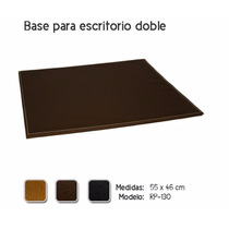 Base Doble Para Escritorio De Piel Color Chocolate En Remate