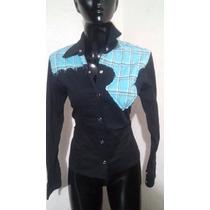 Blusa Camisa Negra Talla Ch Vaquera