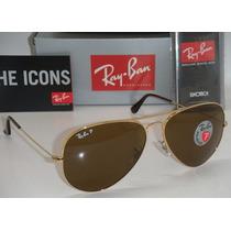 Lentes Gafas De Sol Ray Ban Aviador Rb3025 Polarizado Cafe