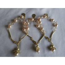 3 Pulsera Perla Con Dije De Angel Y Medalla De San Benito