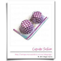 100 Capacillos Base Estándar Cuadros Morados Cupcake #1368