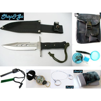 Envio Gratis Kit Supervivencia V1 Cuchillo Pedernal Etc 22pz