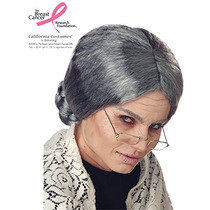 Peluca De California Trajes Mujer Abuela, Gris, One Size