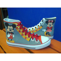 Tenis Personalizados Mano Micky Y Minnie Mouse Arte Iph