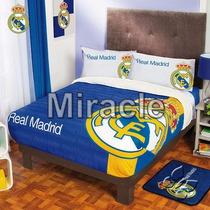 Cobertor Real Madrid Fleece Con Borrega Individual In