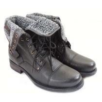 Botin Botas Zapato De Piel Militar Con Tipo Borrega C/doblez