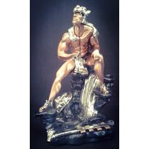 Escultura Caballero Jaguar Grande Plata .999 Electroformado