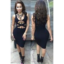 Moda Sexy Mini Vestido Fiesta De Tirantes Negro Y Aberturas