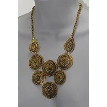 Collar Moda Color Oro Viejo Escudos Hojas Garigoleados Cc102