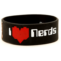 Hot Topic Muñequera Pulsera Domo I (heart) Nerds Rubber Brac