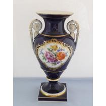 Urna Floral Meissen De Porcelana Azúl Cobalto
