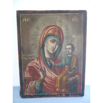 Virgen De Vladimir Ícono Ruso Pintado Sobre Madera
