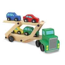 Transportador De Camiones Y Coches De Juguete De Madera Set